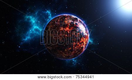 Planet Earth with sun in universe or space, Earth and galaxy in a nebula clouds