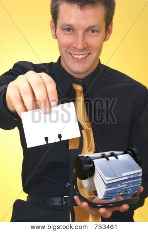 Business Man And Rolodex
