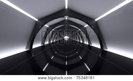 Abstract Modern Background, empty futuristic interior with columns and balks, 3D rendering