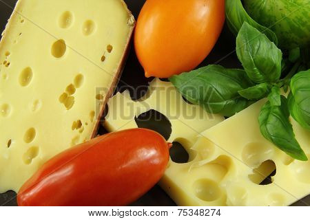 cheeses with tomatoes and basil