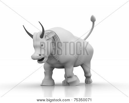 Silhuette Of White Aggressive Bull