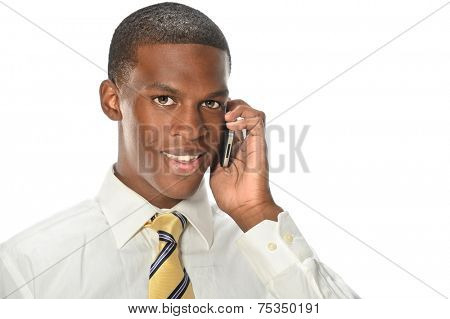 Young African American businessman using cellphone isolated over white background