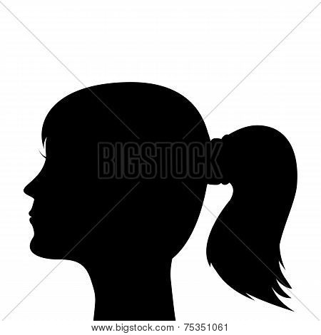 silhouette of a young girl with a ponytail