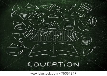 Education: Book With Pages Flying Around
