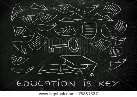 Education Is The Key, Book With Pages Flying Around