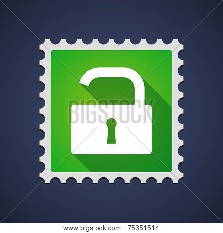 Mail Stamp With An Open Lock Pad