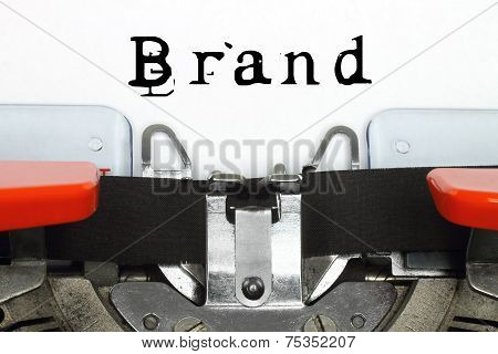 Typing machine with typed brand word