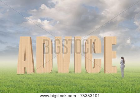 Concept of tip, advice, conference etc with 3d text under sky on the outdoor grassland and one Asian business woman thinking about it.