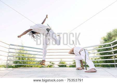 Capoeira a woman and a man struggling in the outdoors