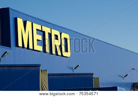 Ankara, Turkey - June 17, 2012: Front entrance of Metro Grosmarket on a clear day.