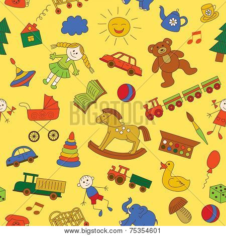 Colorful seamless pattern, childish doodles. Use for wallpaper, pattern fills, textures, fabric.