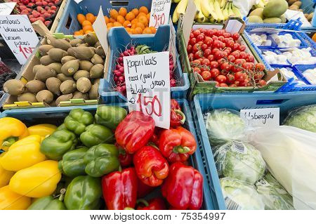 Fruits and vegetables at a farmer's market.