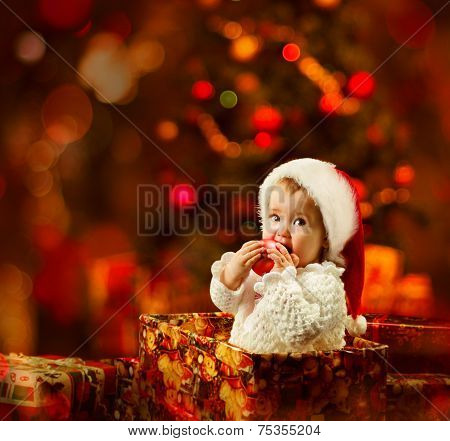 Christmas Baby in Santa Hat in Gift Box, Xmas Kid Present