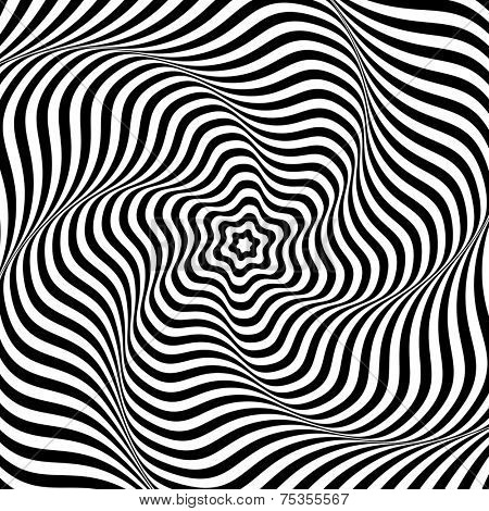Abstract op art background. Illusion of wavy rotation movement. Illustration.