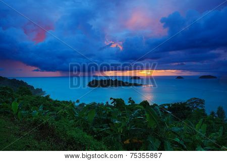 Raining Clouds And Sun Set Sky Behind Koh Chang Island In Trat Province Eastern Sea Of Thailand
