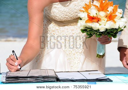 Bride Signing On Wedding Celebration