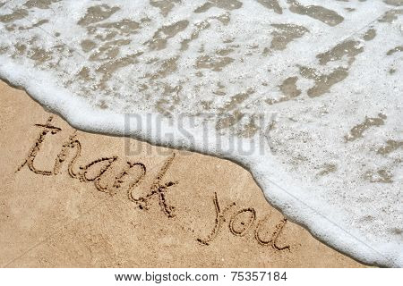 Concept or conceptual hand drawn thank you text carved in a golden sandy beach with water and foam waves summer background on exotic island