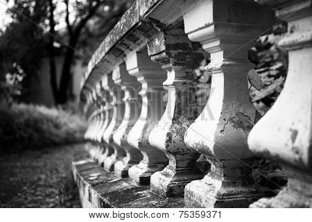 Old Stone Balustrade In The Park
