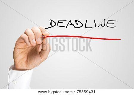 Handwritten Red Underline On Deadline Texts