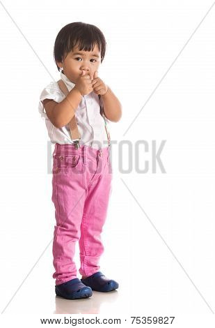 Face Of Asian Children Acting By Hand And Face Isolated White Background With Studio Lighting