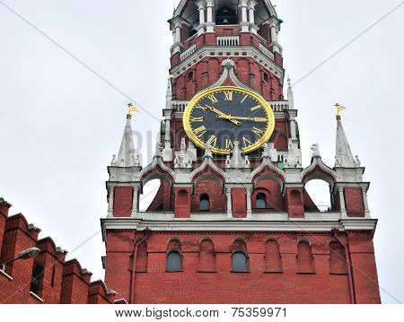Kremlin clock close-up on the Spasskaya Tower, Moscow, Russia