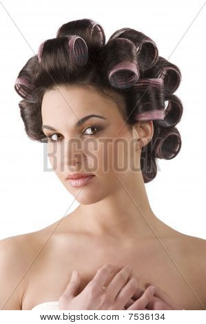 Closeup Woman With Hair Rollers