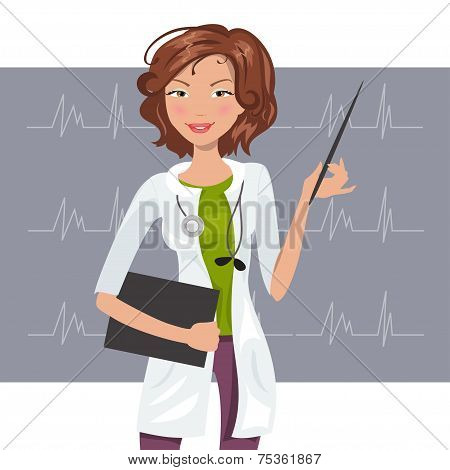 Beautiful Woman Cardiologist. Vector Illustration