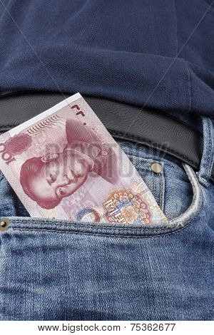 Chinese Money (rmb) In A Pocket