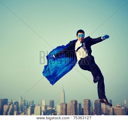 Superhero Energetic Businessman Cityscape Concept