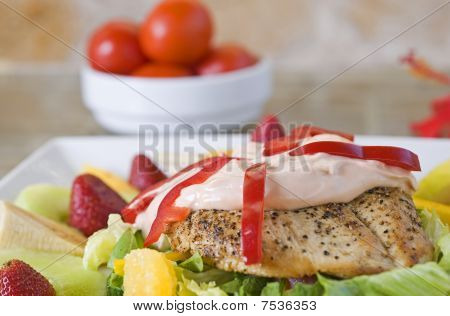 Chicken salad with dressing and fruit