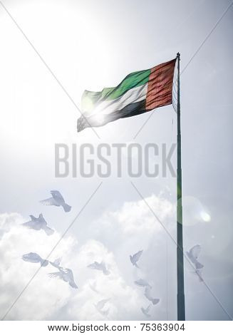 A massive flag of United Arab Emirates flying against a a sky with flying birds