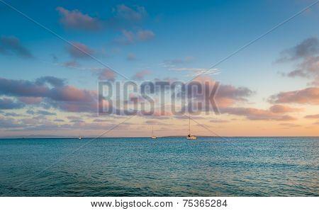 Mediterranean sea bay at sunrise