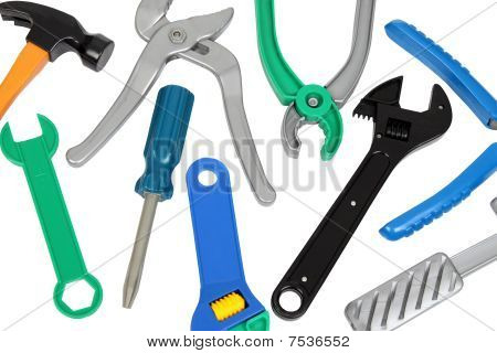 Set Of Plastic Toy Tools