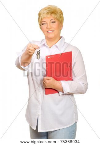 Happy senior woman with keys isolated