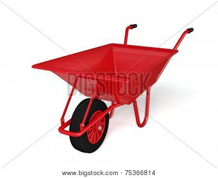 Wheel barrow isolated on white background
