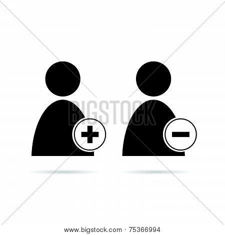 People Icon Plus And Minus Black Vector