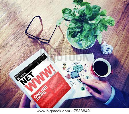 Digital Online News Headline World Wide Web Concept