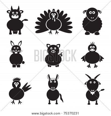 Farm Animals Simple Icons Set Eps10