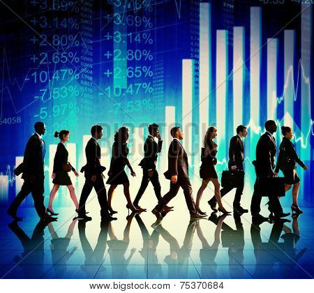 Business People Walking Financial Figures Concept