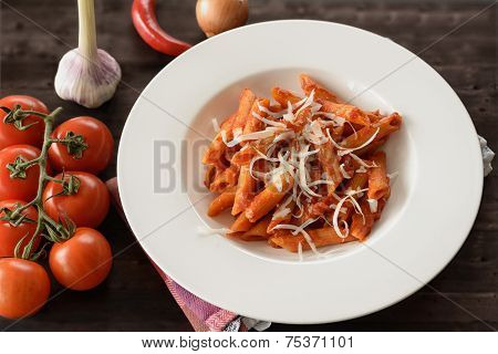 Plate Of Penne Pasta With Arrabiata Sauce