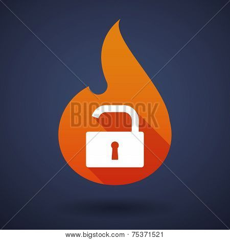 Flame Icon With A Lock Pad