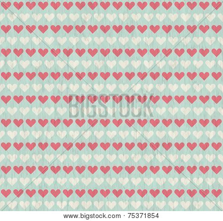 Seamless Grunge Background With Hearts