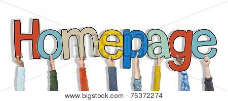 Group of Hands Holding Word Homepage