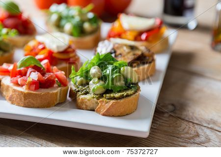 Bruschetta With Beans And Arugula, Mushrooms, Goat Cheese