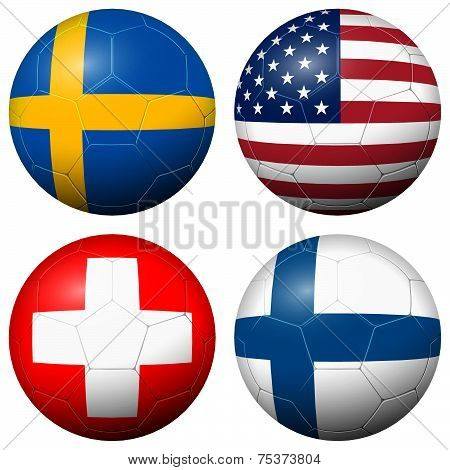 Collection Of Soccer Footballs - Country Flags