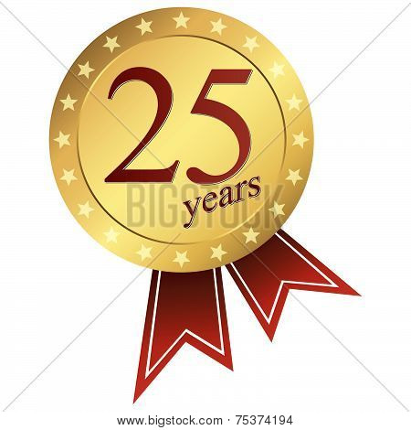 Gold Jubilee Button - 25 Years Vector