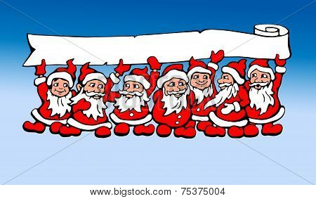 Seven Santas vector graphic illustration