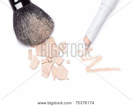 Concealer Pencil And Crushed Compact Cosmetic Powder With Makeup Brush