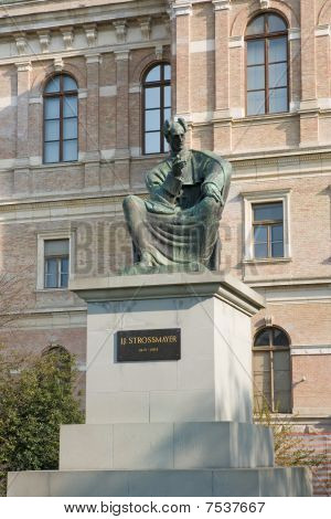 Statue Of Bishop Josip Juraj Strossmayer In Zagreb