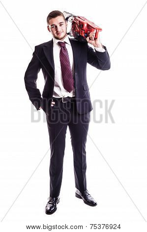Businessman With A Red Chainsaw